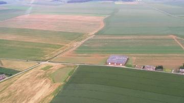 Vue aérienne des parcelles agricoles