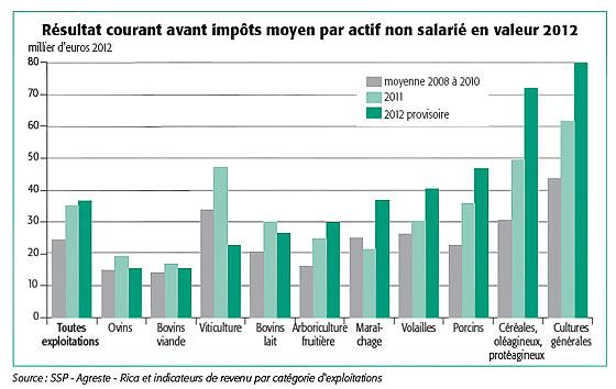 Graphique sur le r�sultat courant avant imp�ts moyen par actif non salari� en valeur 2012