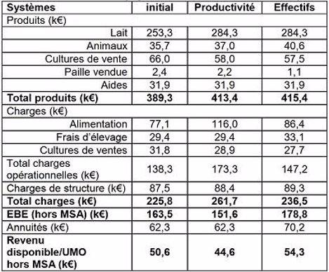 Tableau 3: Résultats des simulations économiques du système initial et des deux stratégies d'augmentation des  livraisons de lait («productivité» et «effectifs»)
