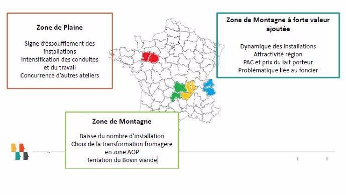 trois zones de production laitiere en france