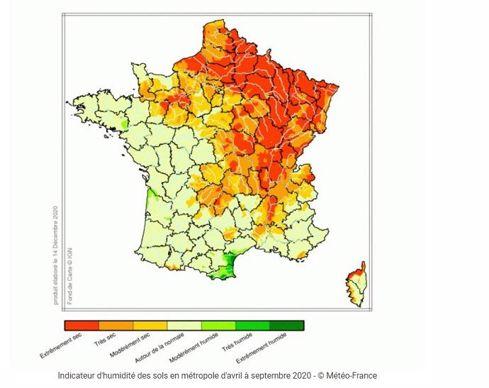 Carte indice humidité des sols