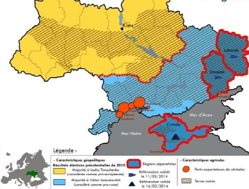 Principales caractéristique du paysage géopolitique et agricole de l'Ukraine.