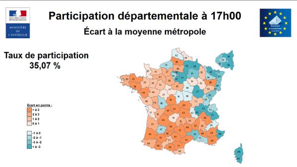 Cartographie des taux de participation à 17H avec écart à la moyenne métropole