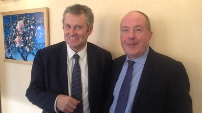 Thierry Blandinières, directeur général d'Invivo, et Philippe Mangin, président de Coop de France