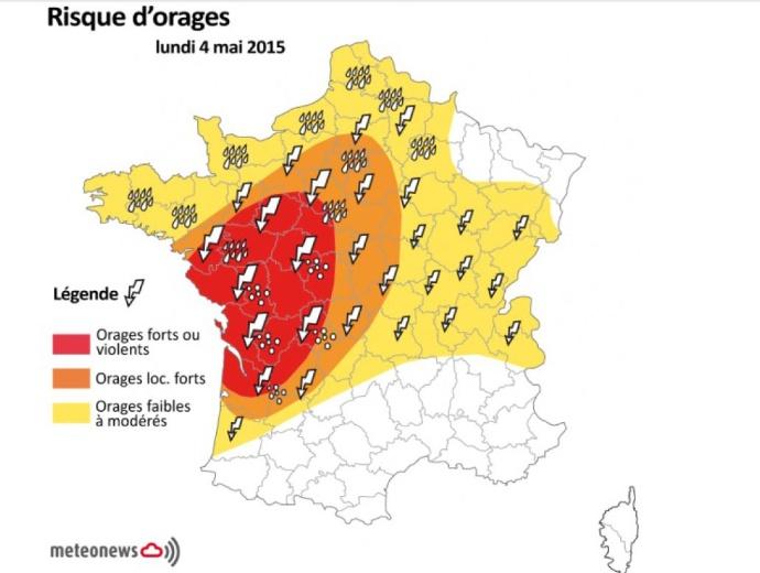 Risque d'orages sur la France lundi 4 mai 2015