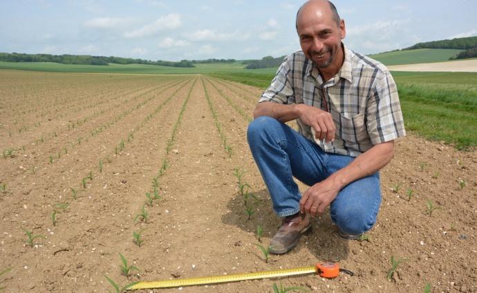 Frédéric Mugot, agriculteur danns l'Aube sème son maïs a intervalle de 50 cm