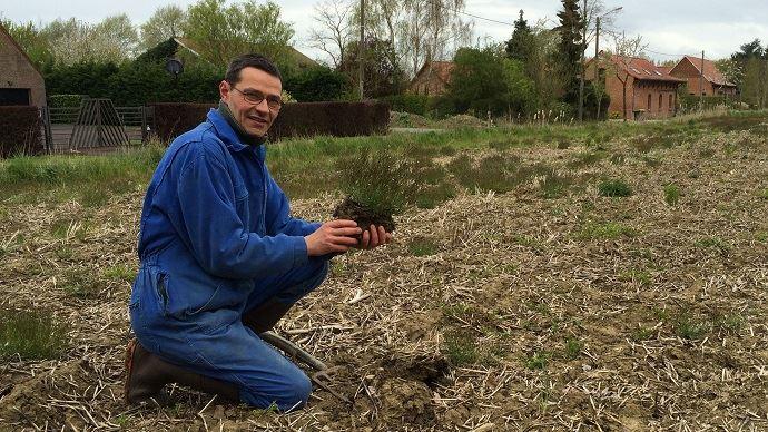 Jean-Marc Burette, tenant une adventice dans l'une de ses parcelles avant semis.