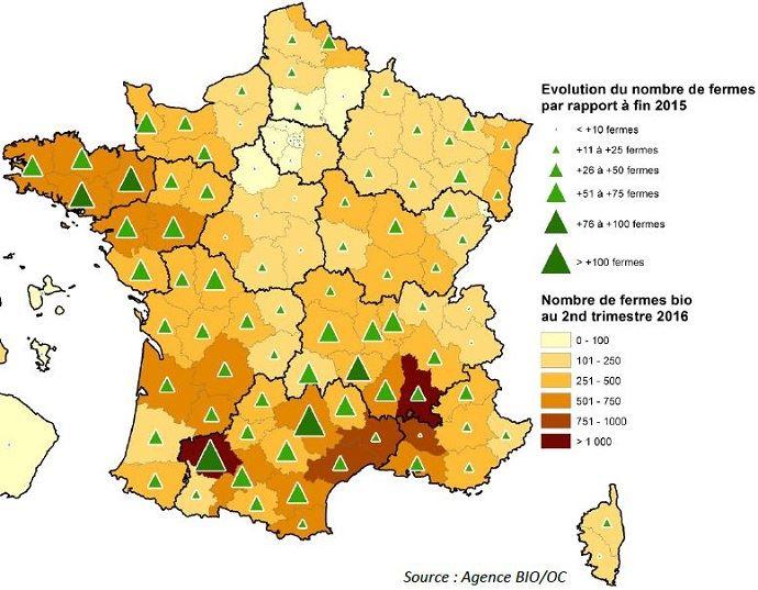 Répartition départementale du nombre de fermes biologiques au 30 juin 2016.