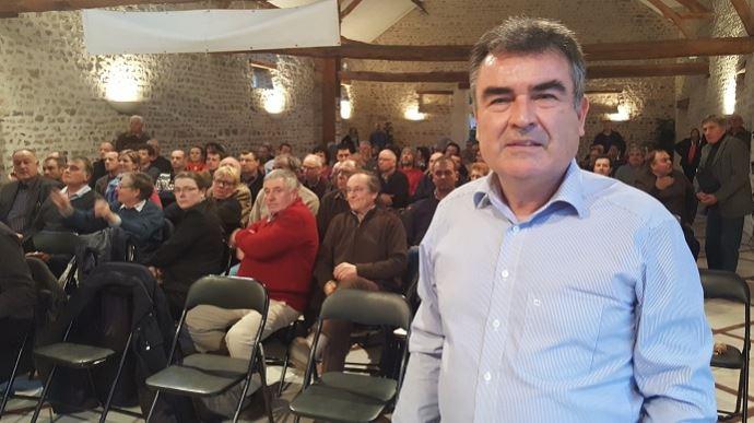 Nicolas Jaquet, président de l'OPG, lors du congrès de la branche céréalière de la Coordination rurale à Villampuy, en Eure-et-Loir, mardi 31 janvier 2017.