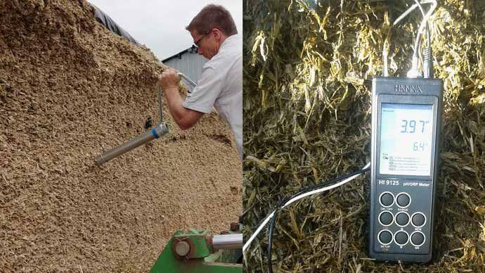 Les mesures de densité (carottage) et relevés de pH et température réalisées en exploitation par les équipes HYPRED permettent d'évaluer la conservation du fourrage dans le silo ou la botte d'enrubannage