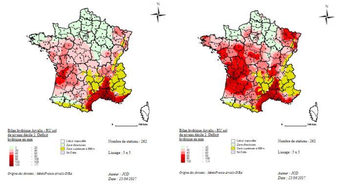 Figure 2: Déficit hydrique estimé au 01/05 pour les sols les plus superficiels localement en 2017 (à gauche) et en 2011 (à droite)