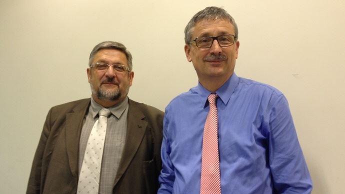 Thierry Manten, vice-président, et Pascal Cormery, président de la MSA, s'inquiètent de la réduction des moyens de la MSA imposée par l'Etat alors que la MSA doit absorber un surplus d'activité liée à la crise agricole.