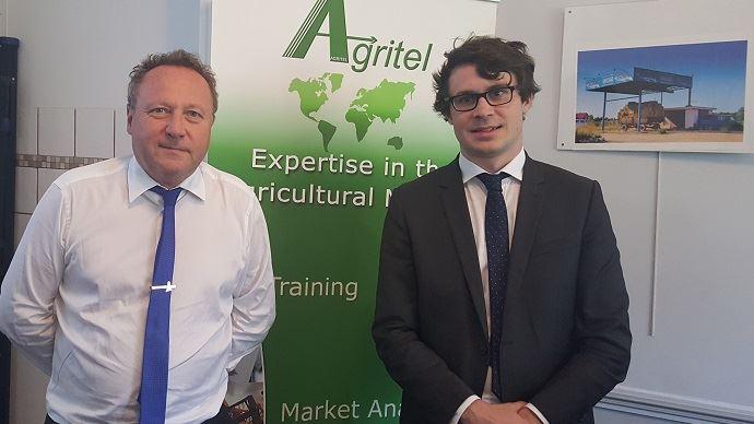 Michel Portier, président d'Agritel, et Alexeandre Boy, analyste consultant, lors d'une conférence de presse jeudi 31 août 2017.