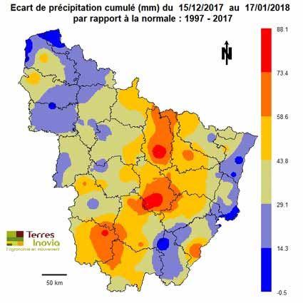 Ecart de précipitation cumulé (mm) du 15/12/2017 au 17/01/2018 par rapport à la normale: 1997-2017