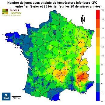 Carte montrant le nombre de jours avec atteinte de température inférieure à -2 degrés au mois de février sur les 20 denières années