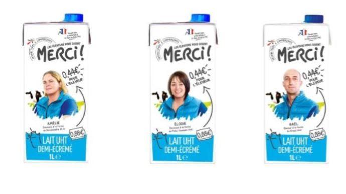 Intermarché et la laiterie de Saint-Père créent la marque «Les éleveurs vous disent merci!» : un lait qui rémunère les producteurs à hauteur de 440€/1000 litres