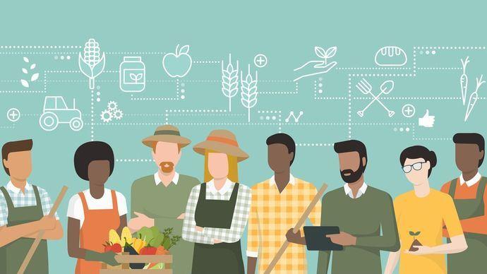 Groupe d'agriculteurs qui travaillent en équipe