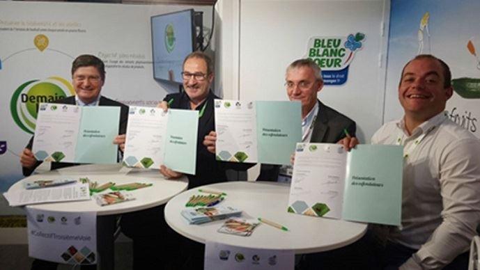 Jean-Louis Berges (Président de l'Association Vignerons en Développement Durable), Jean-Pierre Pasquet (Co-Président de l'Association Bleu-Blanc-Cœur), Étienne Henriot (Président du GIE CRC) et Geoffroy Cormoreche (Président de l'Association Demain la Terre) ont signé la création du collectif de la troisième voie.
