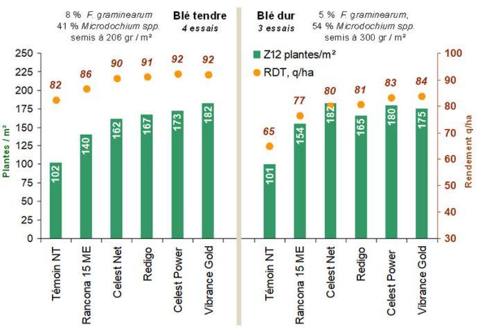 Efficacité des traitements de semences pour lutter contre la contamination des semences par les fusarioses sur blé tendre et sur blé dur (campagnes 2015 à 2018)