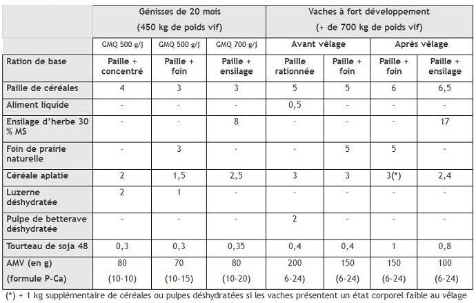 Exemples de rations à base de paille de céréales destinées à des vaches allaitantes et génisses d'élevage (enkg brut/jour/animal)