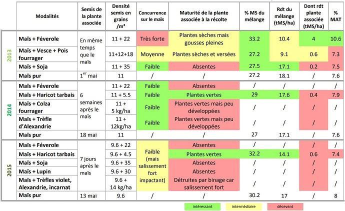 La maturité à la récolte, la concurrence entre les deux plantes et la contribution au rendement (volume et MAT) sont les critères qui déterminent la plante compagne la mieux adaptée au maïs