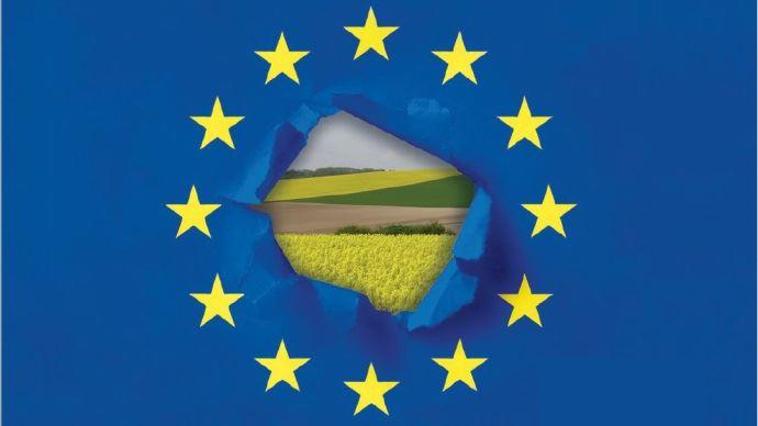 paysage agricole dans le drapeau europeen