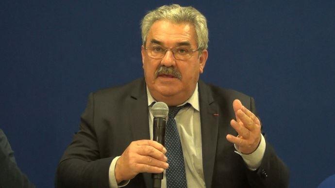 Jean Mouzat, président du Modef, lors du grand débat des élections chambres d'agriculture le 19 décembre 2018 à Paris.