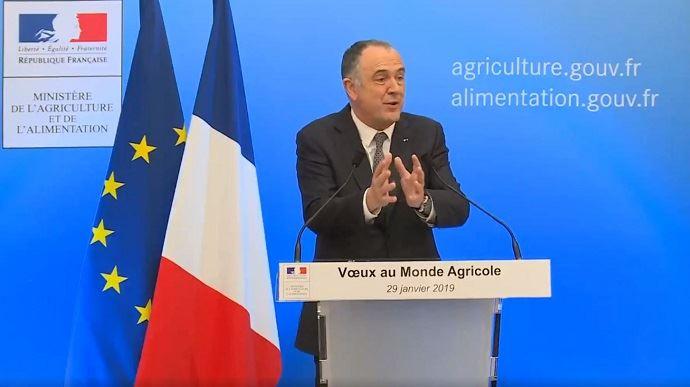 Didier Guillaume, lors de la présentation de ses voeux au monde agricole mardi 29 janvier 2019 en fin de journée.