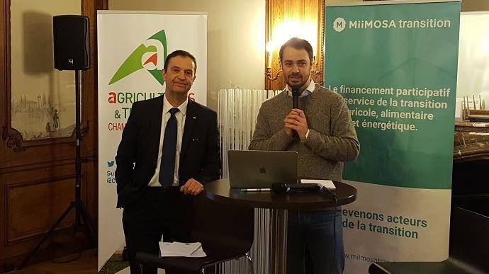 Claude Cochonneau, président de l'APCA, et Florian Breton, fondateur de Miimosa, lors de la présentation de Miimosa transition, mardi 29 janvier 2019 au siège de l'APCA.