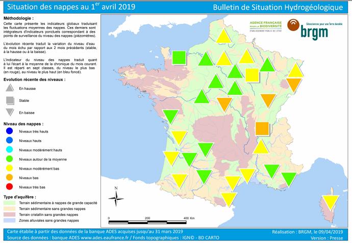 Etat des nappes phréatiques au 1er avril 2019.