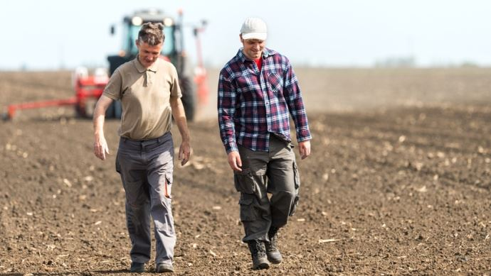 Agriculteurs dans champs