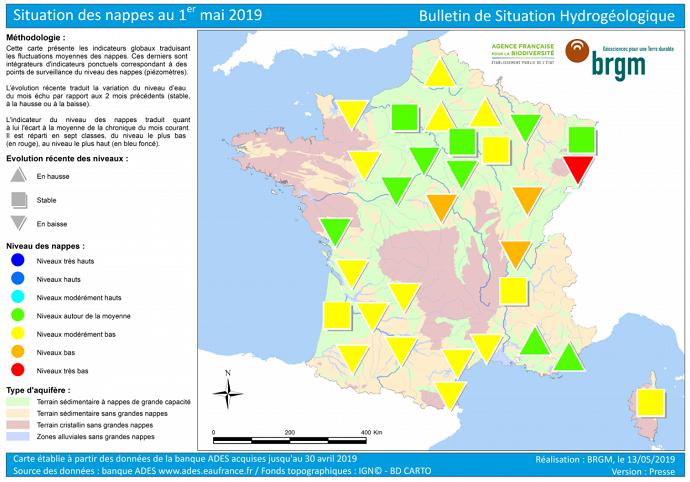 Etat des nappes phréatiques au 1er mai 2019.