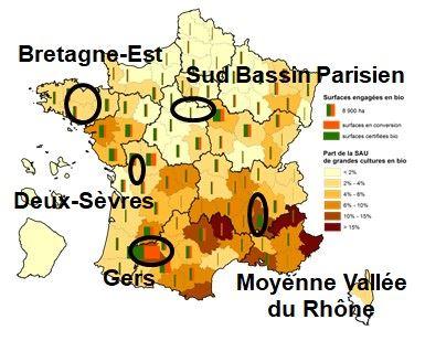 Localisation des 5 fermes-types de grandes cultures bio