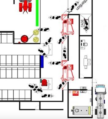 Plan des futurs robots de traite Lely chez Étienne Fourmont (72) avec emplacement du Discovery.