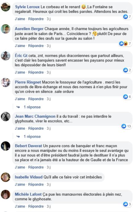 posts facebook operation seduction emmanuel macron envers le monde agricole