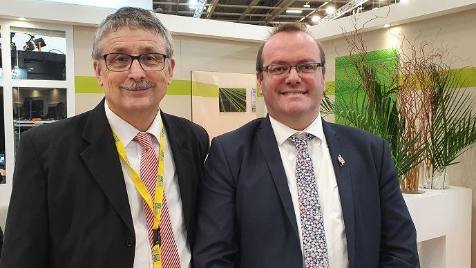 Pascal Cormery, président de la CCMSA avec Olivier Damaisin, député du Lot-et-Garonne, chargé d'une mission parlementaire sur le mal-être des agriculteurs.