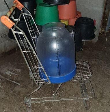 Caddie pour transporter les bidons de lait