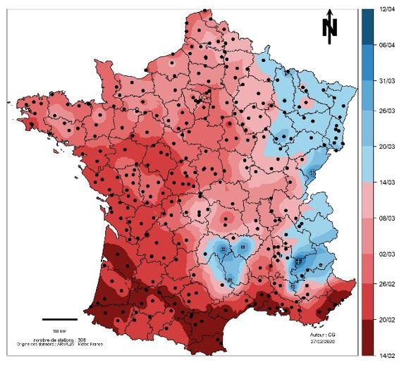 Prévision d'atteinte du stade épi 1 cm pour de l'orge d'hiver semée à une date normale (variétés et date de semis ajustées à la région en moyenne pluriannuelle)