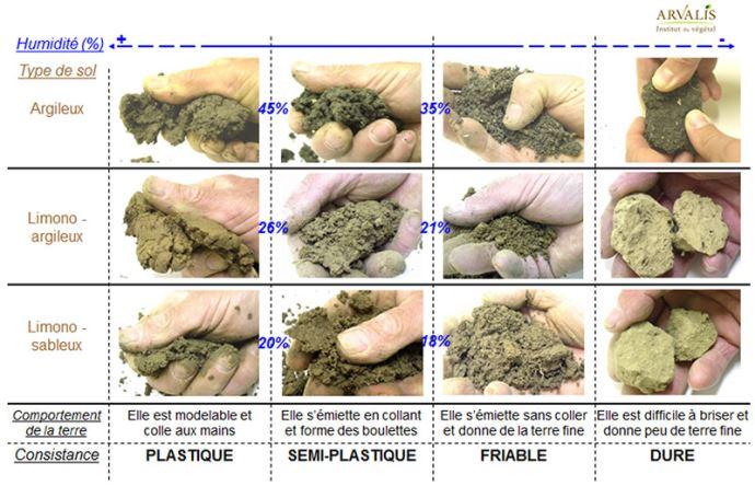 Evaluer si le sol est au bon état d'humidité pour être travaillé