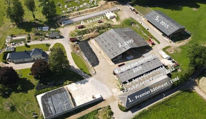 Vue aérienne d'une ferme d'élevage