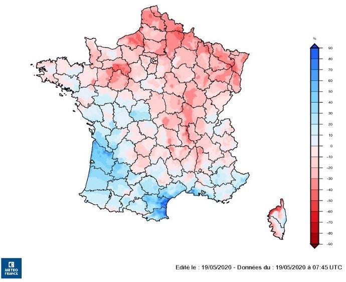 Indice d'humidité des sols au 18 mai 2020.