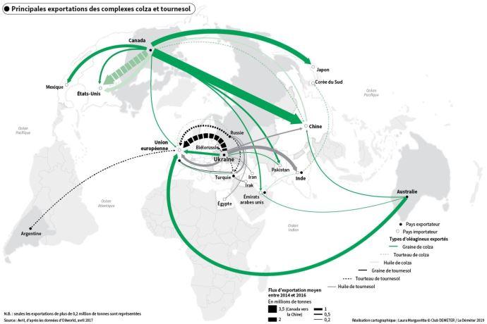 Principales exportations des complexes colza et tournesol