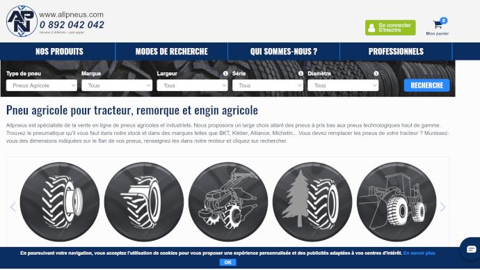 Site de vente en ligne de pneumatiques agricoles Allpneus