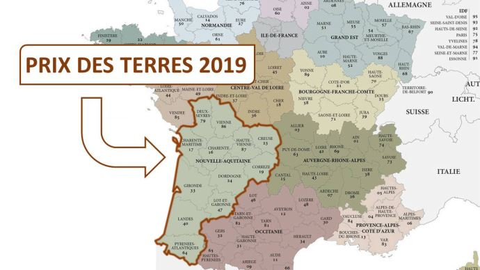 En 2019, le prix moyen de l'hectare libre est de 5090€ en Nouvelle-Aquitaine.