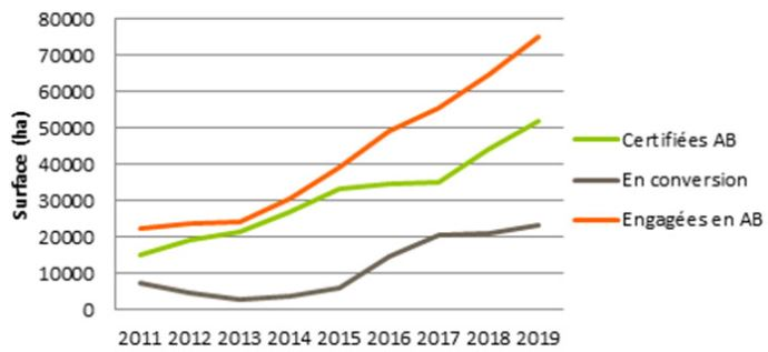 Evolution des surfaces conduites en mélanges céréales-légumineuses depuis 2011