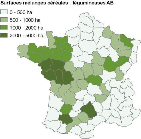 Répartition des surfaces en AB des mélanges céréales-légumineuses en France en 2018