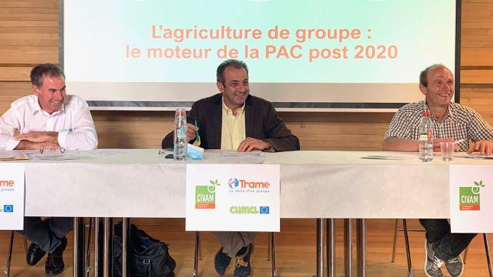 Christophe Perraud (FNCuma), Olivier Tourand (Trame) et Christophe Perraud (Civam) ont présent éle 8 septembre leurs propositions pour la future Pac.