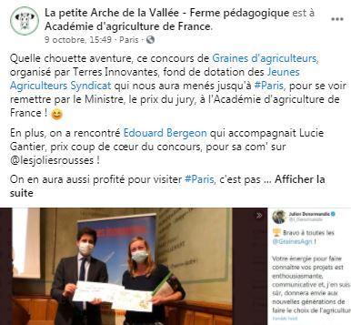 post facebook resultat concours graines d agriculteurs la petite arche de la vallee