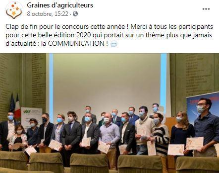 post facebook resultat concours graines d agriculteurs 2020
