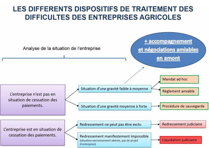 Les différents dispositifs de traitement des difficultés des entreprises agricoles